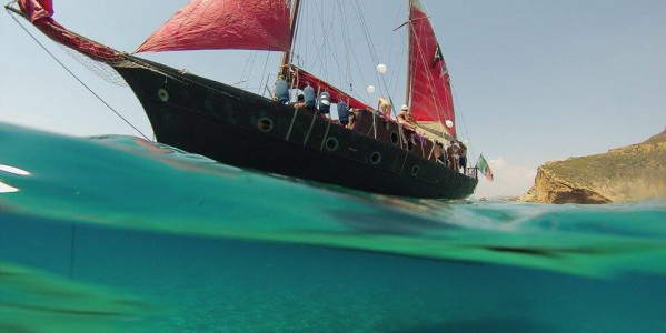 Boarding in ancient galleon and sailing along the coast of Agrigento to the famous Stair of the Turks