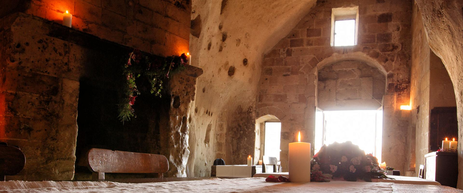candlelight dinner in the XIII century church in Matera
