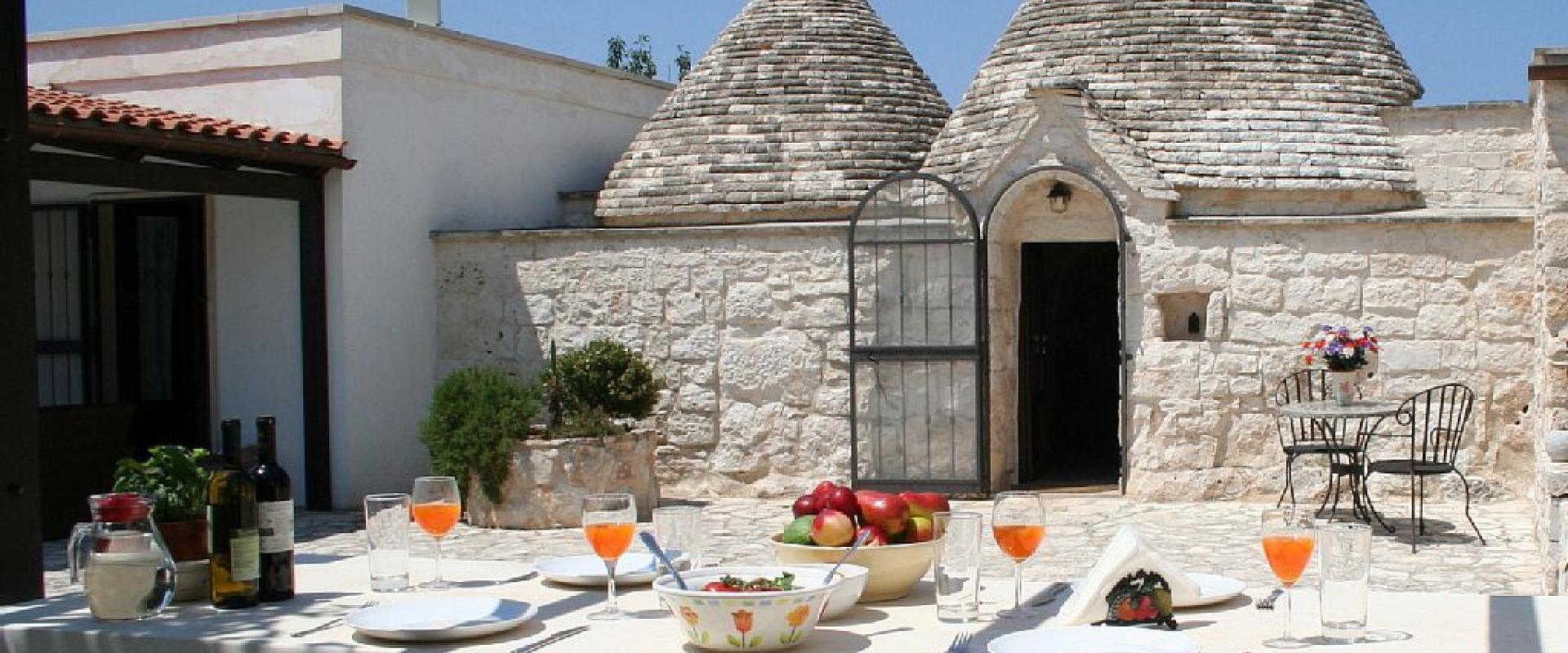 Typical lunch inside trullo of Alberobello