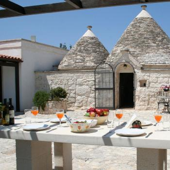 Typical lunch inside trullo of Alberobello